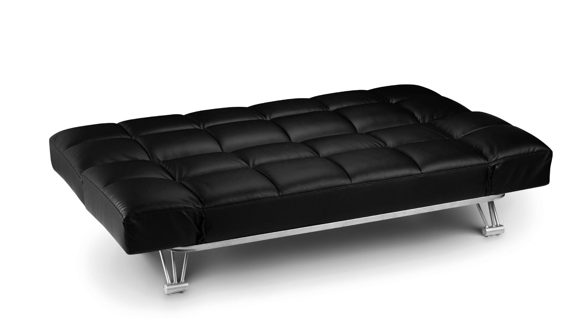 Alzira Black Soft Touch Leather 3 Position Backrest Sofa Bed JB318
